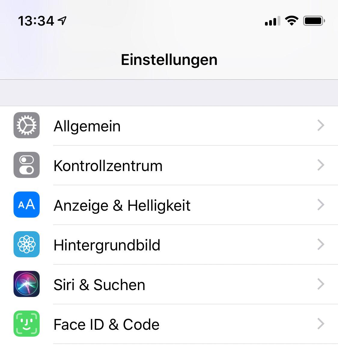 Einstellungen in iOS