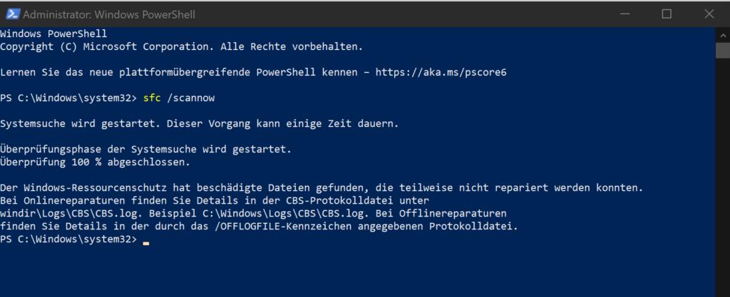 Auswertung SFC /SCANNOW unter Windows 10 Home