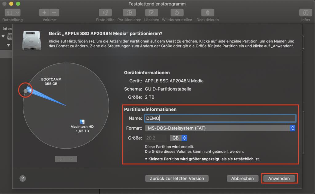 Festplattendienstprogramm - Neue Partition erstellen