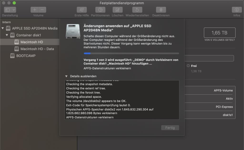 Festplattendienstprogramm - Änderungen anwenden