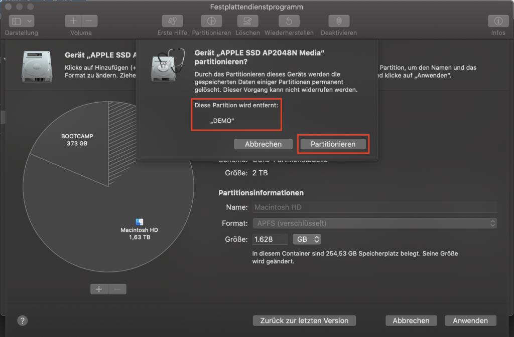 Festplattendienstprogramm - Partition DEMO wird gelöscht