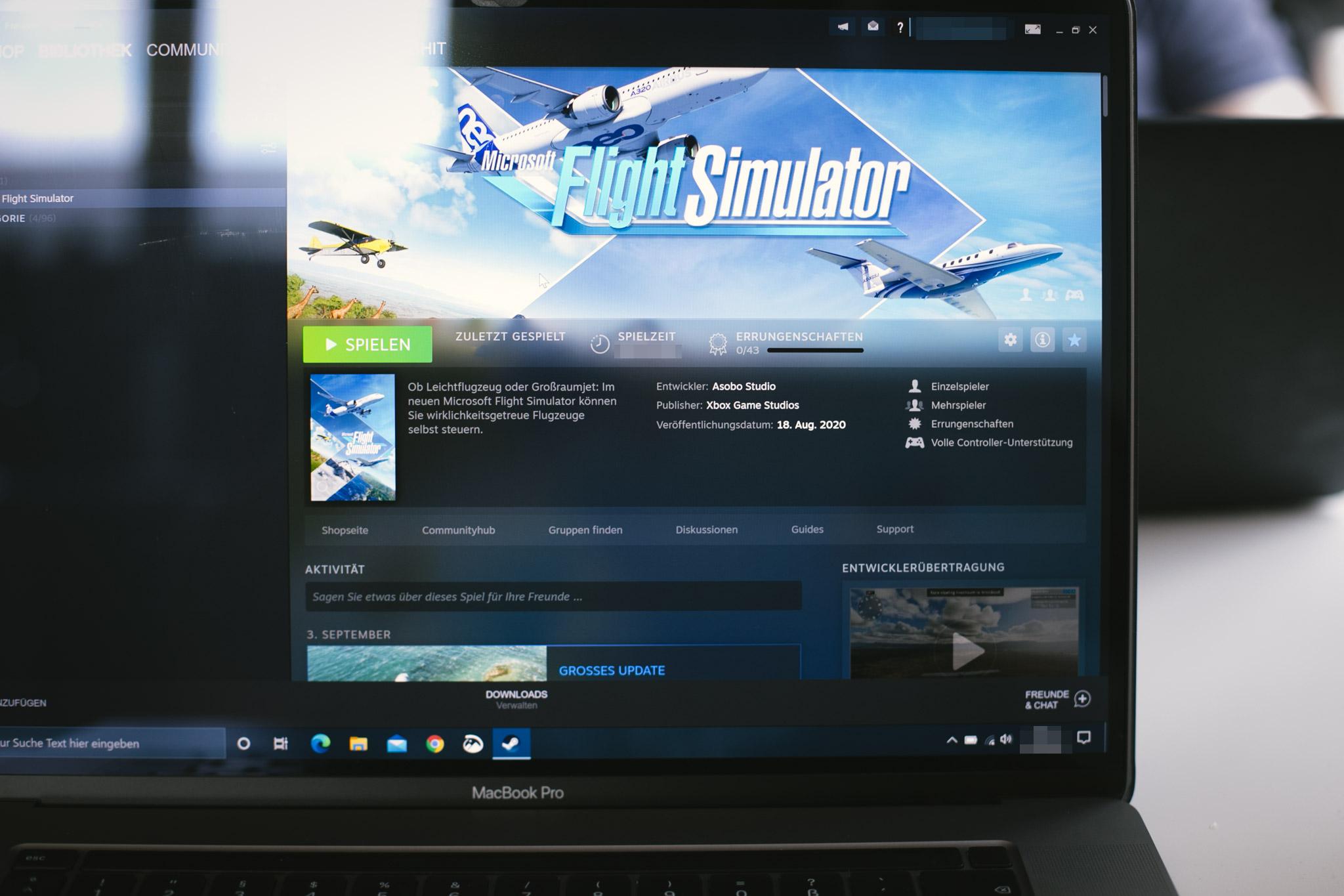 Flight Simulator 2020 auf einem Macbook Pro 16 Zoll 2019
