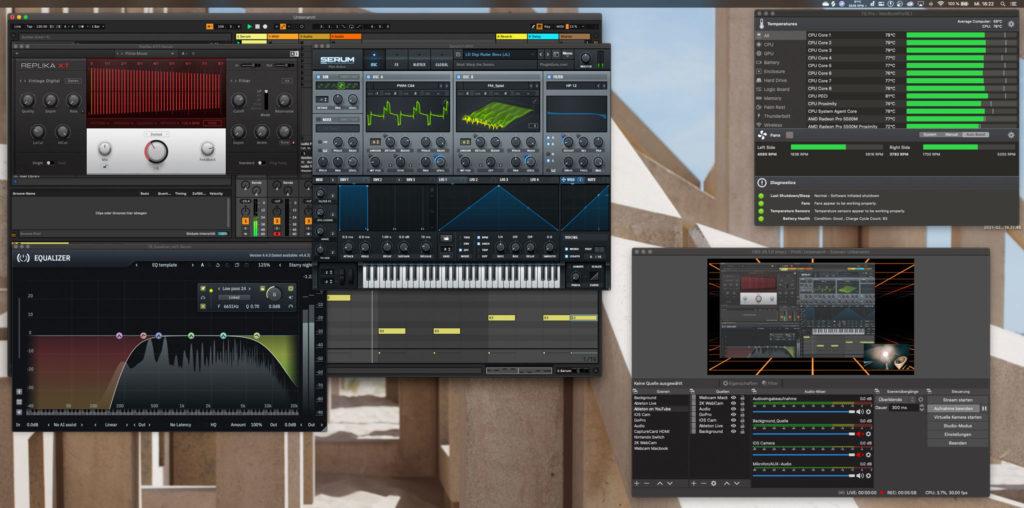OBS, Ableton Live, Serum, Replika XT und EQ